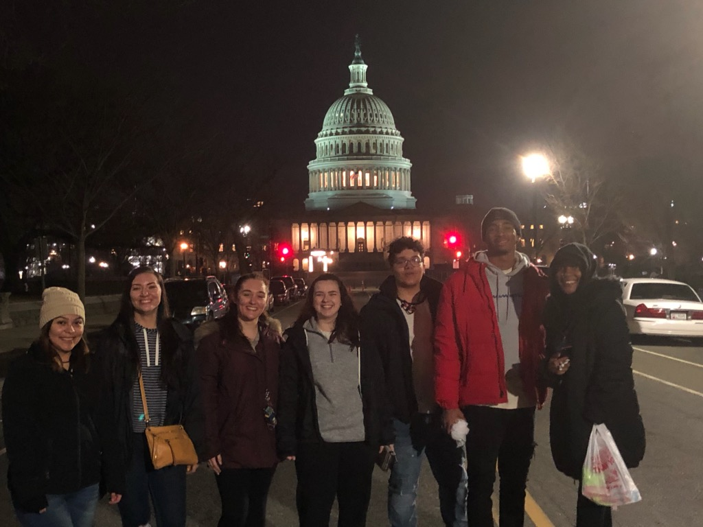 Students in front of capital